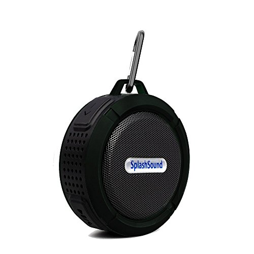 Splashsound Shower Speaker - Waterproof Bluetooth Shower Speaker with Suction Cup, Hanging Clip and Micro SD Card Slot - Clear 5W Audio Output - By OLIVIA & AIDEN