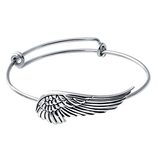 (SENFAI Supernatural Protection Angel Wing Adjustable Love Bangles Women Girl Charm Bracelets Gifts (Antique)
