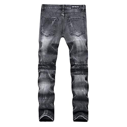 Elasticizzati Moderna Jeans Da A Skinny Moda Blackgrey Media Pantaloni Vita Strappati Casual Fit Dritti Slim Uomo w8UEqxvFp