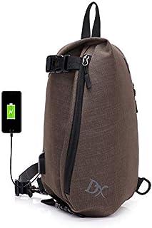 MFHSB Sac de Poitrine Sac Sling, avec USB de Chargement Port bandoulière Toile Sac de Poitrine pour Hommes Femmes léger randonnée Voyage Sac à Dos Daypack,Black