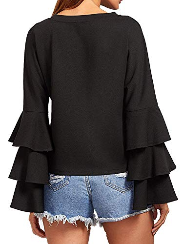 2c2eb854c918d SIMSHION Women s Elegant Trumpet Sleeve Casual Blouse Long Sleeve Tops  Shirts