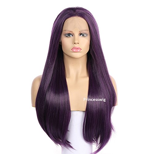 Princesswig Purple Cosplay Synthetic Lace Front Wigs Long Straight High Density Colorful Pastel Lace Fiber Hair Wig Halloween Party Makeup For Black And White Women