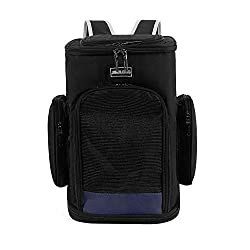 WUNIA Cat Carriers Knapsack for Cats and Dogs up to 11 lbs, Fully Ventilated Mesh, 2 Way Entry,Designed for Travel Hiking, Walking & Outdoor Use,Black