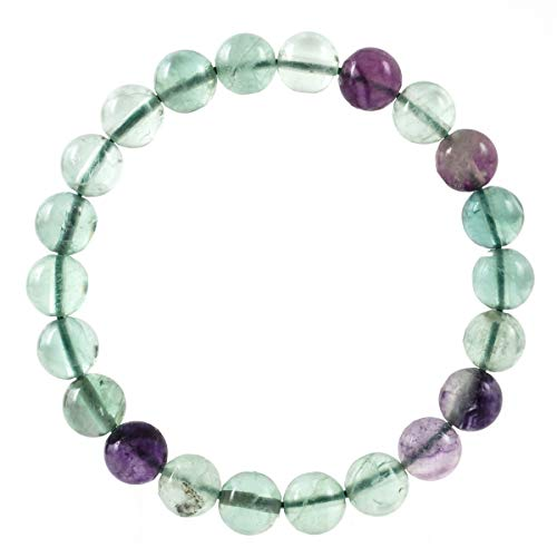Color Ring Multi Crystal Swarovski - Natural Multicolor Fluorite Bracelet Gemstone Bracelet 7 inch Stretchy Chakra Gems Stones Healing Crystal (Unisex) GB8-2