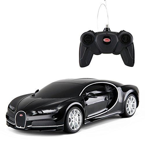 (Bugatti Chiron Black Radio Remote Control Sport Racing Car RC 1/24 Scale)
