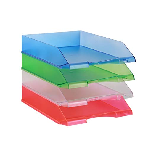 Jinxin-Office Products Desk Organizers Stackable Paper Tray – 4 Tier Stackable Letter Trays – File Holder Organize…