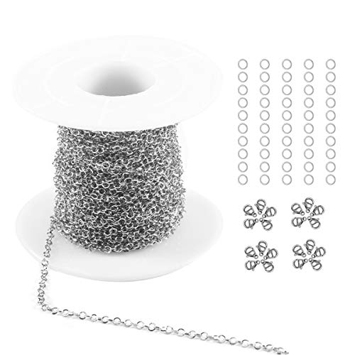 Tiparts 33 feet Circular Rolo Cable Chains Stainless Steel Jewelry Making Chains Necklace Bulk with 20 Lobster Clasps and 50 Jump Rings (Stainless Steel, Chain Width 2mm+20pcs Clasps+50 Rings)
