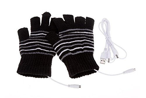 [해외]Lsgoodcare USB 2.0 스트라이프 패턴 핑거리스 가열 편직 양모 손 장갑/Lsgoodcare USB 2.0 Stripe Pattern Fingerless Heating Knitting Wool Hands Warm Gloves Gloves
