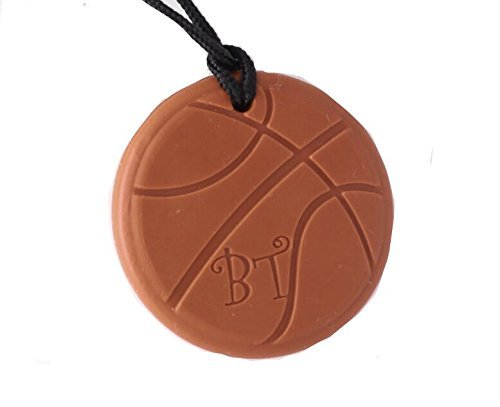 Bestie Toys Basketball Chew Necklace-(1 Pack)-FDA Approved Silicone-Chewlery For Boys & Girls With Autism SPD ADHD Chewing Biting Stimming Needs- Oral Motor Aid- Made in the U.S.A(Tan)