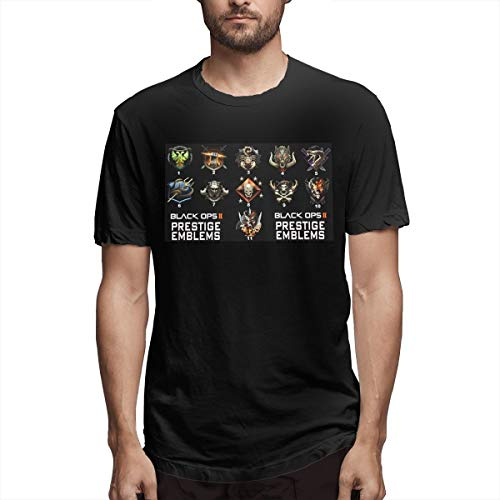 Hengteng Men Printing Casual Prestige Emblems for Black OPS II Short Sleeve Humor T-Shirts Black S (Call Of Duty Modern Warfare 2 Prestige)