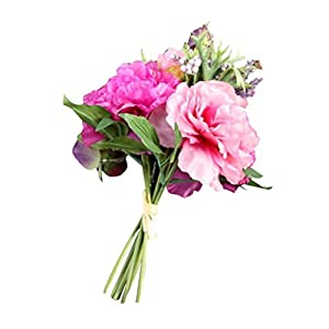 Fake Flowers,Neartime Silk Leaf Rose Floral Wedding Bouquet Party Home Decor (Hot Pink) 2