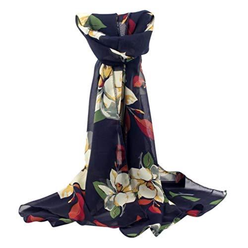 Floral Coat Silk (FENZL Lightweight Scarves: Fashion Stylish Soft Silk Chiffon Scarf Wrap Floral Style Printed Shawl For Women Girls (Navy))