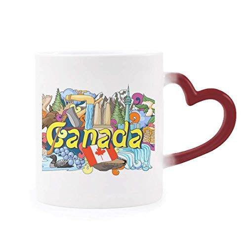 Rocky Mountains CN Tower Maple Canada Morphing Mug Heat Sensitive Red Heart Cup