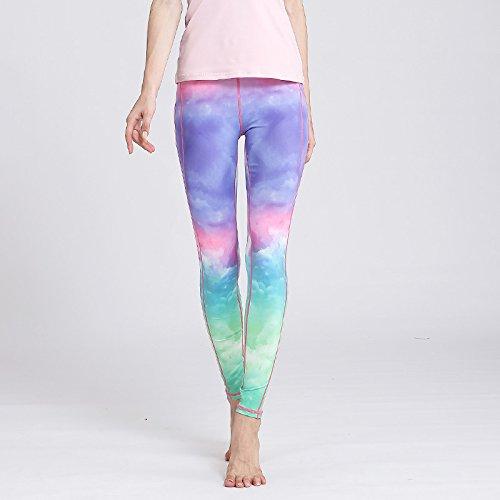 JIALELE Yogahose Yoga Bekleidung Weiblichen Gradient Stempel Fest Yoga Hosen Sau Läuft Sport Fitness Yoga Pant
