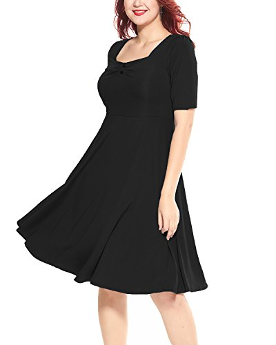 Women's Plus Size 1950s Vintage Square Neck Half Sleeve A-line Midi Dress