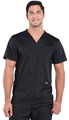 Cherokee Workwear Revolution by Men's V-Neck Utility Solid Scrub Top Medium - At Heavenly Shops