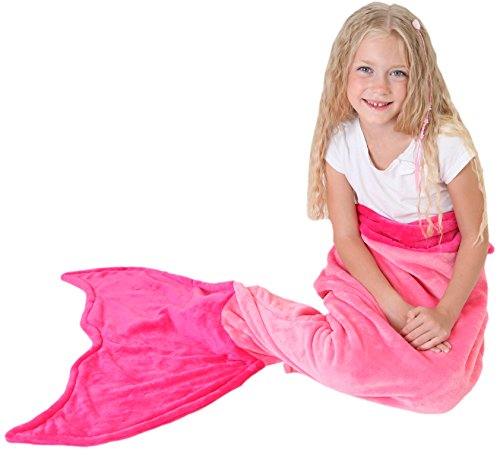 Mermaid Tail Blanket - Soft and Warm Polar Fleece Fabric Blanket by Cuddly Blankets for Kids and Teens (Ages 3-12) (Pink and Hot (Mummy King Adult Costume)
