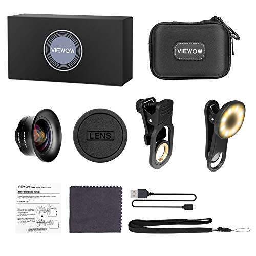 Cell Phone Camera Lens Kit – VIEWOW 4K HD 7 Optical Glasses 15X Macro 0.45X Wide Angle Phone Lens Kit with LED Light and Travel Case, Compatible with iPhone X/XS/8/7 Plus Samsung Pixel by VIEWOW (Image #7)