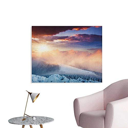 (Anzhutwelve Winter Photographic Wallpaper Fantastic Snowy Photography Winter Landscape Carpathian Region Ukraine Europe Space Poster Peach White Blue W28 xL20)