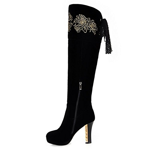 DecoStain Women's PU Leather Nubuck Zip Over The Knee High Heel Boots Black 0RRPQmbP
