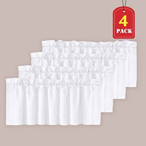H.VERSAILTEX Privacy Protection Kitchen Valances for Windows Room Darkening Curtain Valances for Bedroom, Rod Pocket, 4 Pack, Pure White, 52 x 18 Inch ()