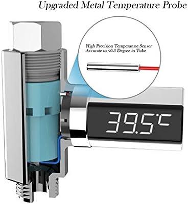 Neborn Pantalla LED Term/ómetro de Ducha de Agua Pantalla LED Term/ómetro de Ducha de Agua para el hogar Flujo Monitor de Temperatura del Agua