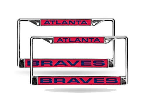 - Atlanta Braves Red MLB (Set of 2) Chrome Metal Laser Cut License Plate Frames