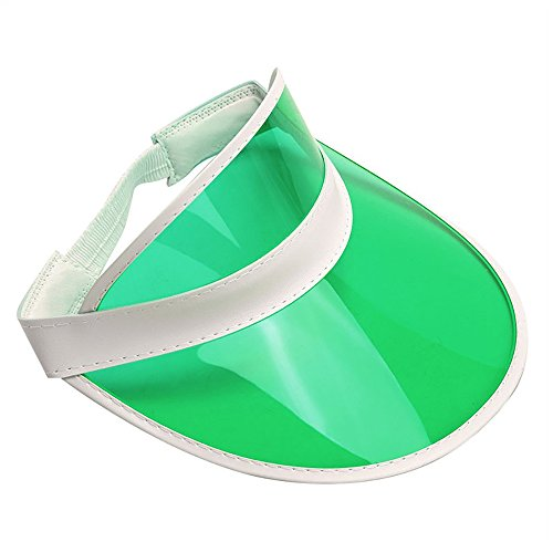 Tennis Beach Colored Plastic Clear Sun Bingo Vegas Dealer Golf Casino Visor Hat Green -
