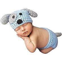 Everpert 2pcs Newborn Baby Crochet Knit Briefs+Dog Shape Hat Photo Props Outfits