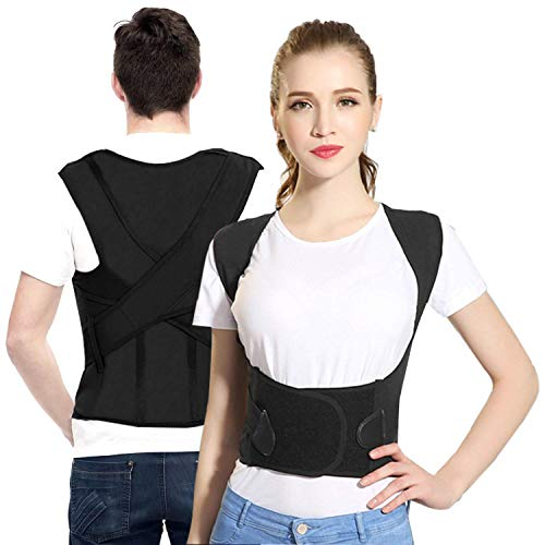 Sportout Back Brace, Four Support Bars Posture Corrector, Adjustable Shoulder Posture Support, Back Lumbar Support to Improve Posture for Women Men