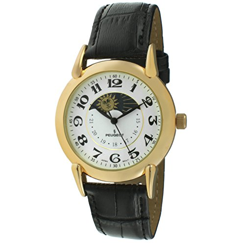 Peugeot Men's '14k Gold Plated' Quartz Metal and Leather Dress Watch, Color:Black (Model: 3032A)