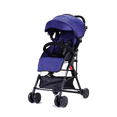 Baby carriage GXH- Stroller Foldable Design high Landscape Trolley 6 Months to 3 Years Old, 15kg Load-Bearing, Three Colors Available. (Blue, Gray, Pink)