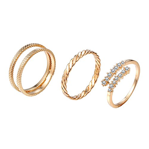 chengxun 3 Pcs/set Ring Set Fashion Gold Double Circle Layer Simple Stackable Knuckle Midi Rings Adjustable Size
