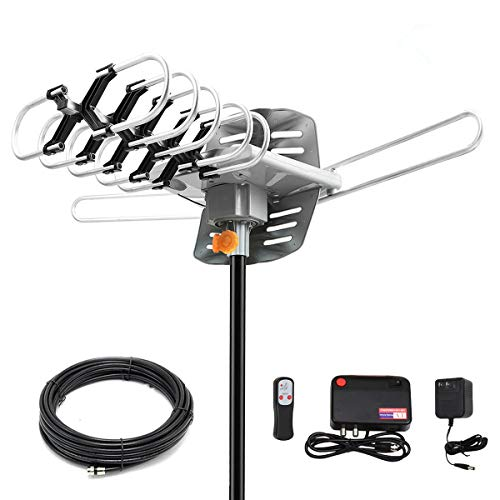 HDTV Digital Antenna -150 Miles Range w/ 360 Degree Rotation Wireless Remote - UHF/VHF/1080p/ 4K Ready(Without Pole). Upgraded 2019 Version (Hdtv Antenna Digital)