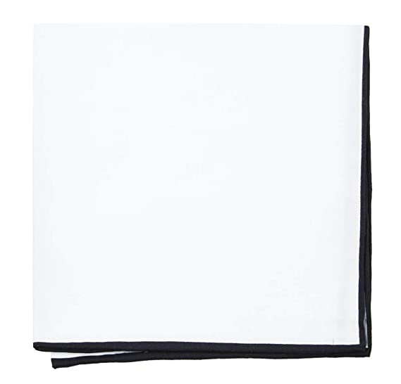 b963111d2933 The Tie Bar White Cotton Pocket Square (Black Border) at Amazon ...