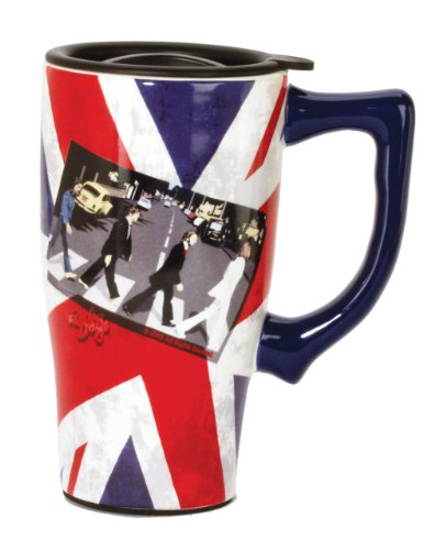 Beatles Mug (Spoontiques Fab 4 Crossing Travel Mug, Multi Colored)