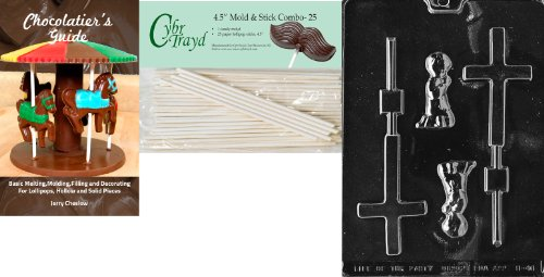 - Cybrtrayd 'Boy Christening Lolly' Baby Chocolate Candy Mold with 25 4.5-Inch Lollipop Sticks and Chocolatier's Guide