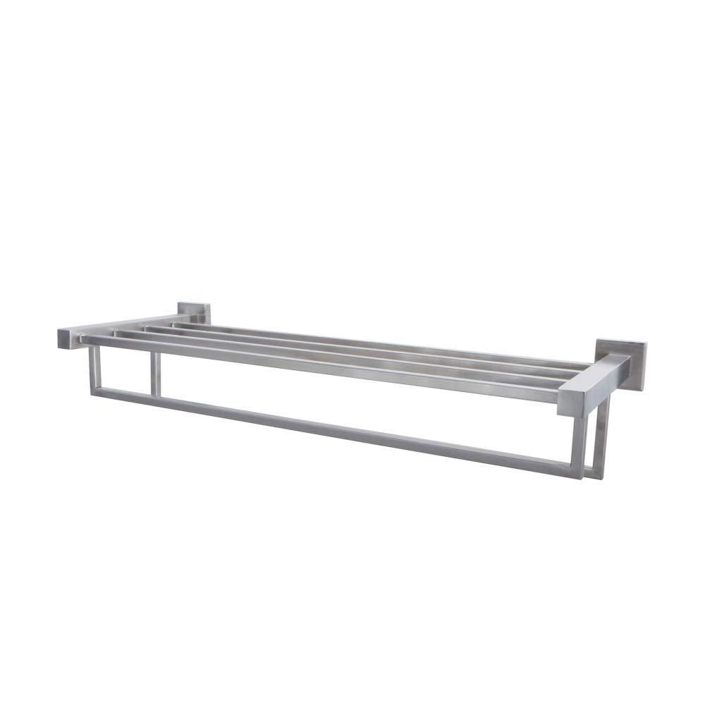 KES SUS 304 Stainless Steel Bathroom Shelves Towel Rack with Towel Bar Bath Storage Hanging Organizer 24-Inch Modern Hotel Square Style Wall Mount, Polished Finish, A21010 KES Home (U.S.) Limited BHBUKALIAINH1014