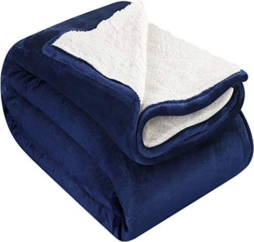 Utopia Bedding Sherpa Flannel Fleece Reversible Bed Blanket Extra Soft Brushed Microfiber (Throw, Navy)