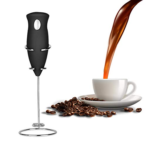 Milk Frother,Coffee Frother Set,Handheld Battery Operated Electric Foam Maker,Drink Mixer Whisk for Best Cappuccino, Frappe, Latte, Hot Chocolate and Bulletproof Coffee,Includes Stainless Steel Stand (With Stand)