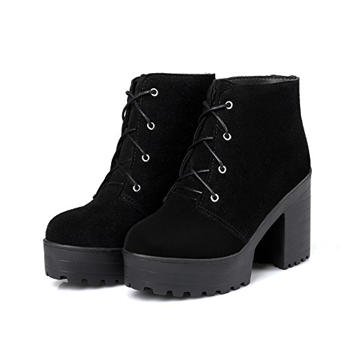 CXQ-Boots qin&X Women's Block High Heels Round Toe Ankle Boots Platform Shoes Black cJrWg