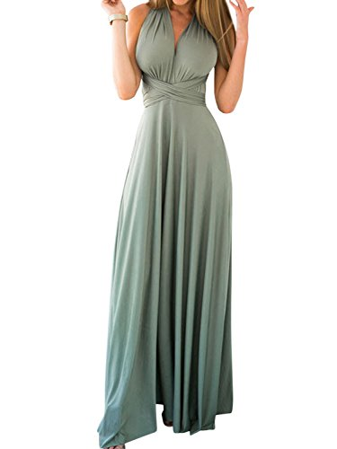 Clothink Women's Green Multi-Way Convertible Wrap Party Maxi Dress S