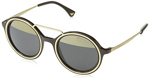 Armani EA4062 Sunglasses 54631Z-49 - Brown/Pale Gold Frame, Grey Mirror Gold