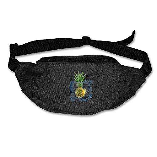 Unisex Pockets Ice Pineapple Fanny Pack Waist / Bum Bag Adjustable Belt Bags Running Cycling Fishing Sport Waist Bags Black]()