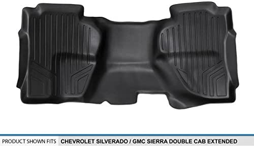 2014-2017 2nd Row Black Extended MAXLINER B0148 Floor Mats for Chevrolet Silverado//GMC Sierra Double Cab