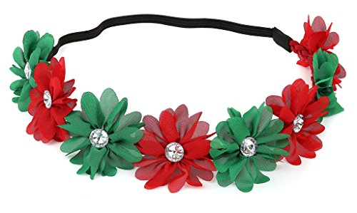 Lux Accessories Xmas Holiday Christmas Headband - Green Red Floral Crown