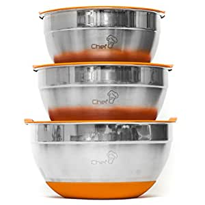 Chef U Stainless Steel Mixing Bowl Set with Lids - With Bright Color Silicone Rubber Bottom - Measurement Mark & Nesting - Set of 3 Bowls - Dishwasher & Freezer Safe