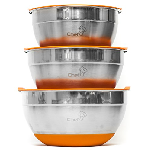 Chef U Stainless Steel Mixing Bowl Set with Lids - With Bright Color Silicone Rubber Bottom - Measurement Mark