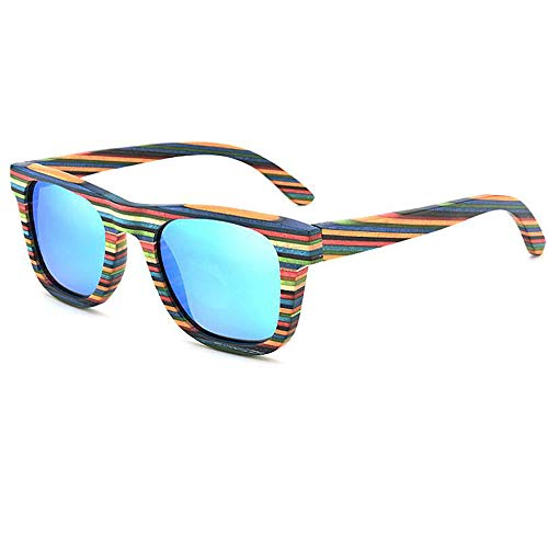 ANLW Colorful Bamboo Wood Polarized Sunglasses Polarized Pilot Mirrored UV400 Protection Driving Sunglasses for Mens ()