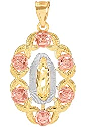 10k Tri-color Gold Our Lady of Guadalupe Miraculous Medal Necklace Pendant
